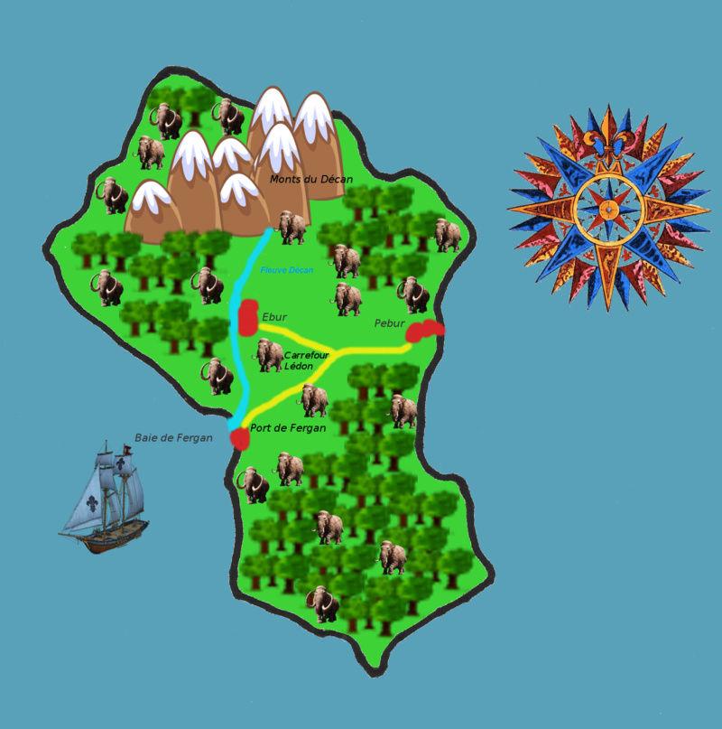 Visite de Torpen ambassadrice de la Ligue Eburnéenne Décanale: revendication de l'ile au large de Pyra à l'ouest du Micromonde Carte212