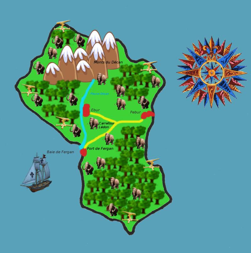 Visite de Torpen ambassadrice de la Ligue Eburnéenne Décanale: revendication de l'ile au large de Pyra à l'ouest du Micromonde Carte_10