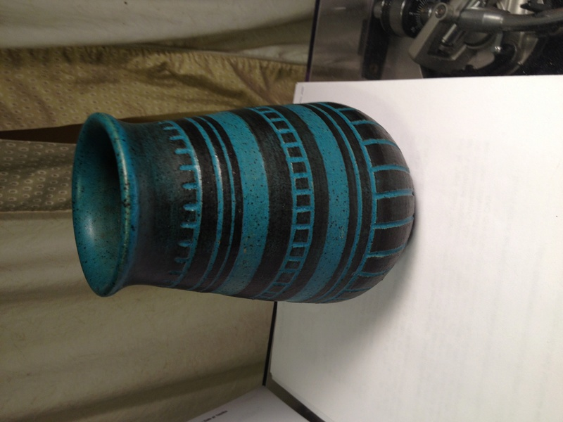 "Turquoise/Teal and Black Incised Vase Marked ""S.T."" Img_2514"
