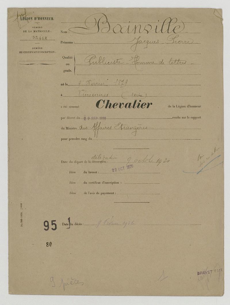 1921, notre ambassadeur au Japon est de retour en France :   Docume10