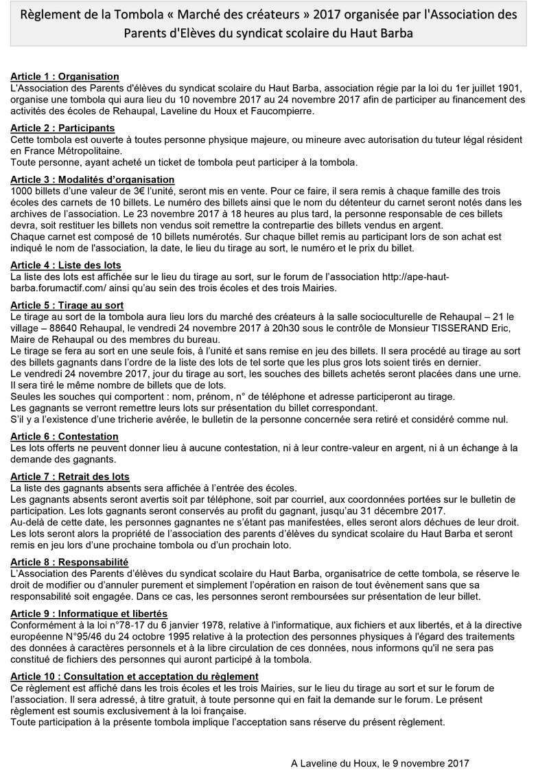 """Règlement de la tombola """"marché des créateurs"""" du 24/11/2017 Ryglem11"""