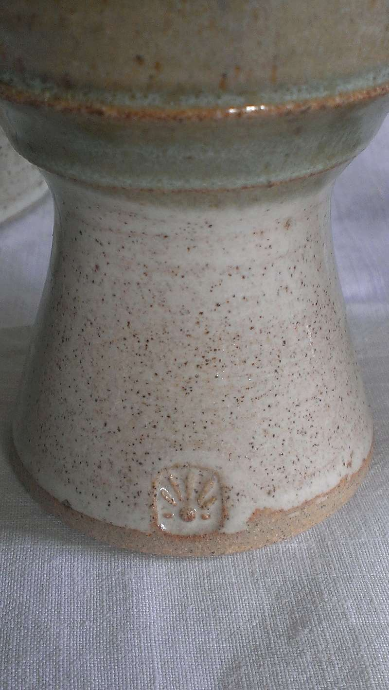 Studio pottery flagon & goblets with impressed sunrise mark? Daisy flower?  Imag7613