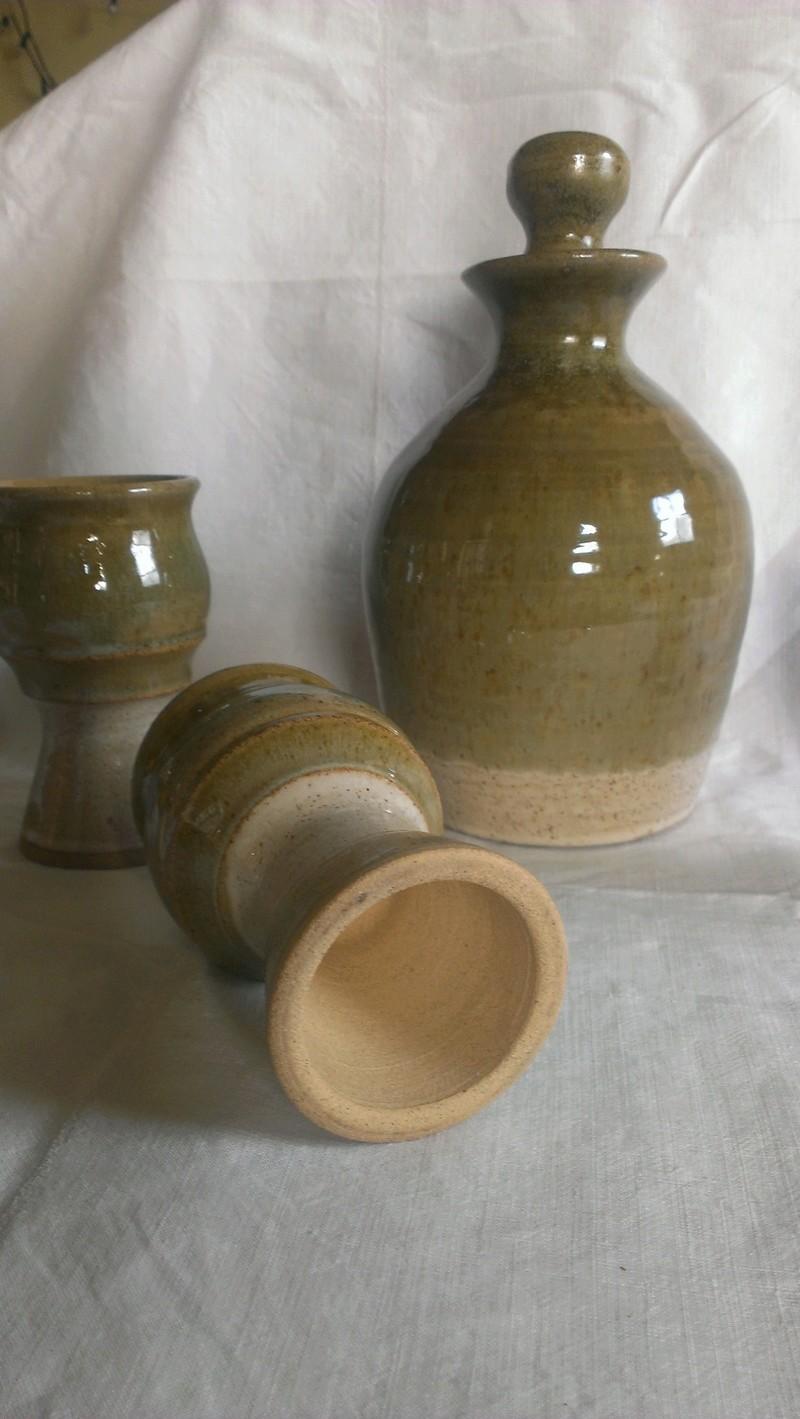 Studio pottery flagon & goblets with impressed sunrise mark? Daisy flower?  Imag7614