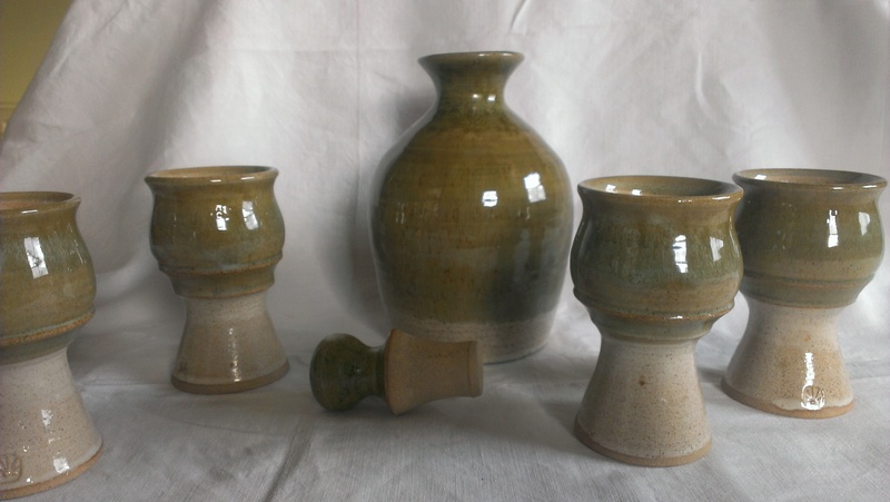 Studio pottery flagon & goblets with impressed sunrise mark? Daisy flower?  Imag7615