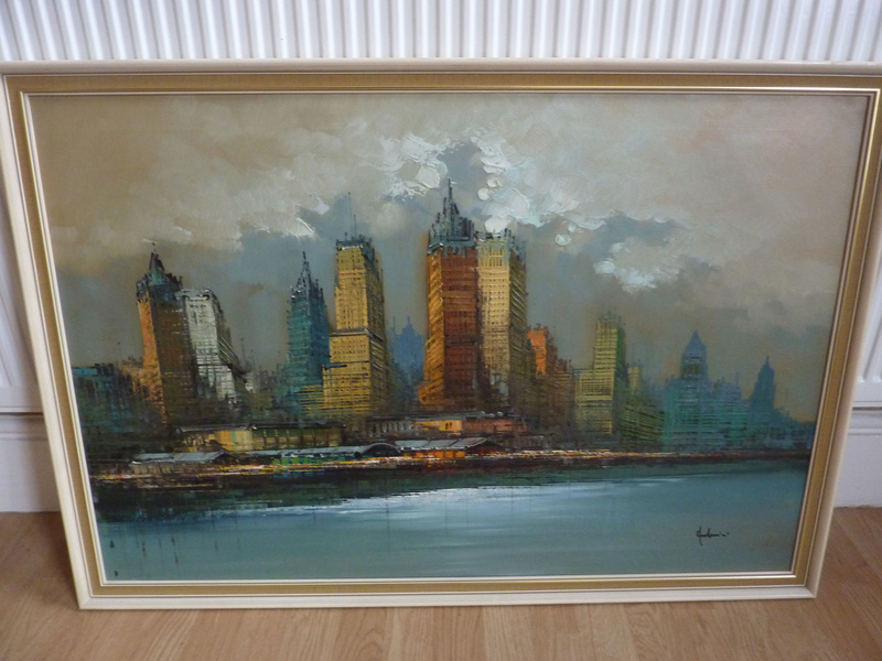 Hudson River Skyline oil painting unidentified signature 00116