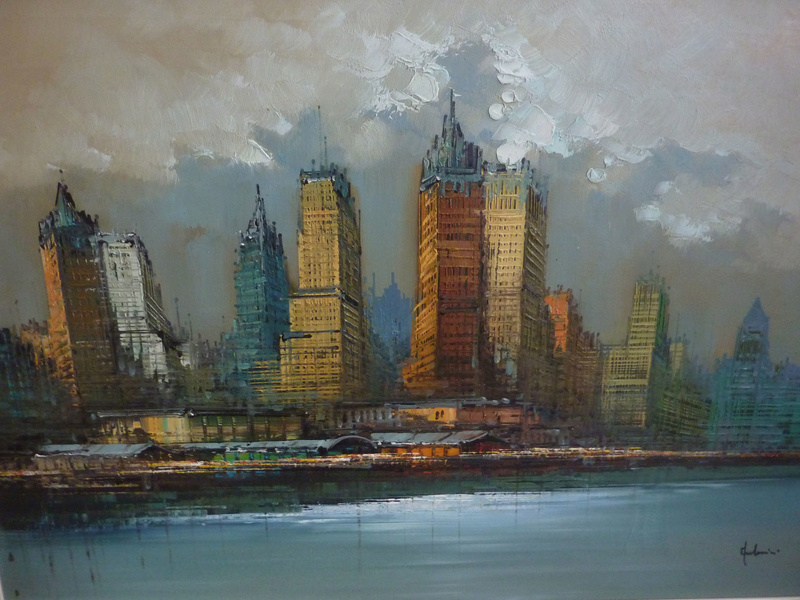 Hudson River Skyline oil painting unidentified signature 00213