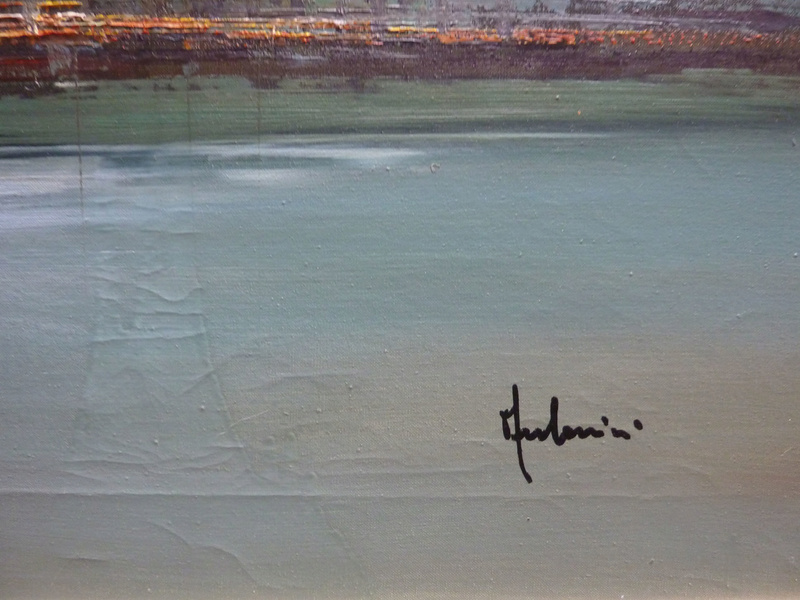Hudson River Skyline oil painting unidentified signature 00616