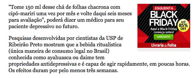 Matéria Folha - 16/06/15 - Ayahuasca melhora depressão Materi10