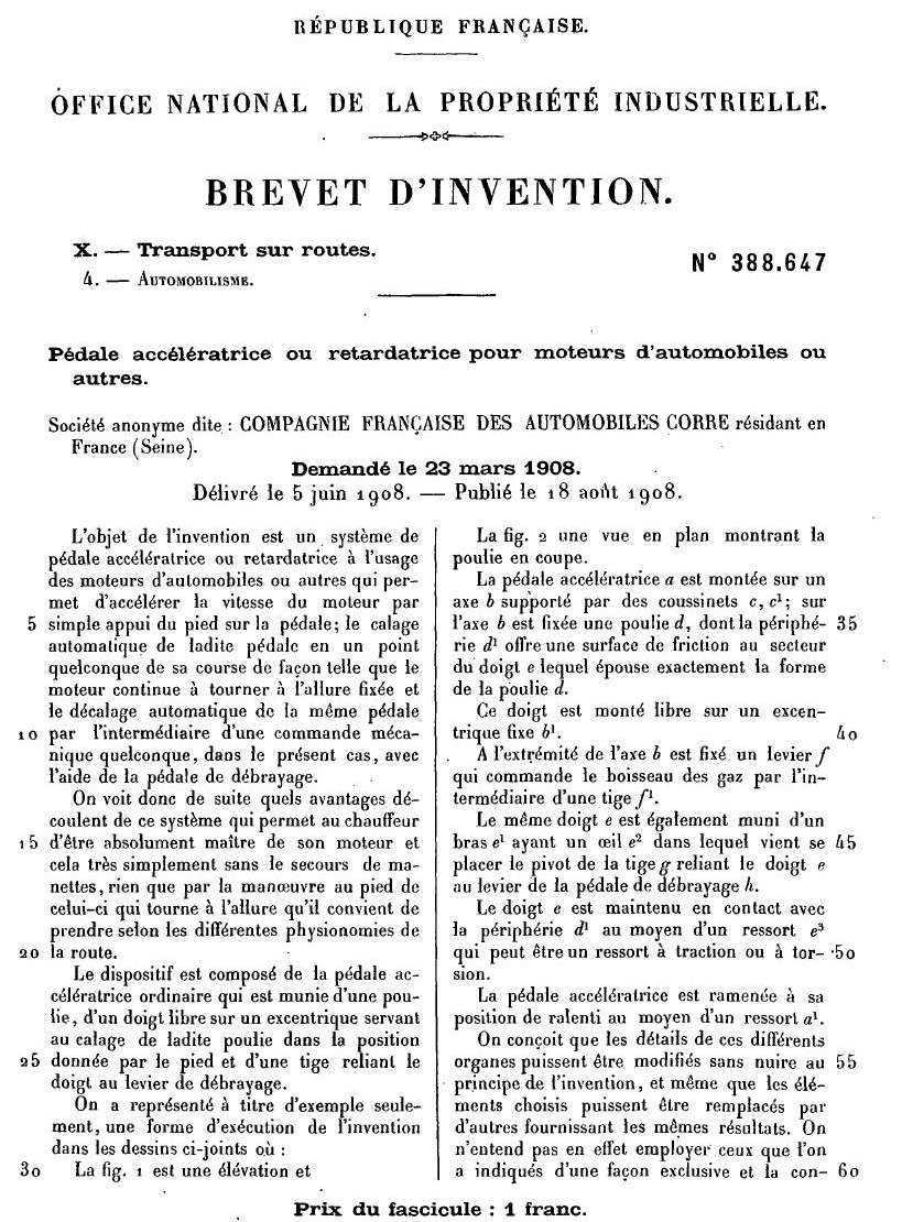Brevets CORRE 1255