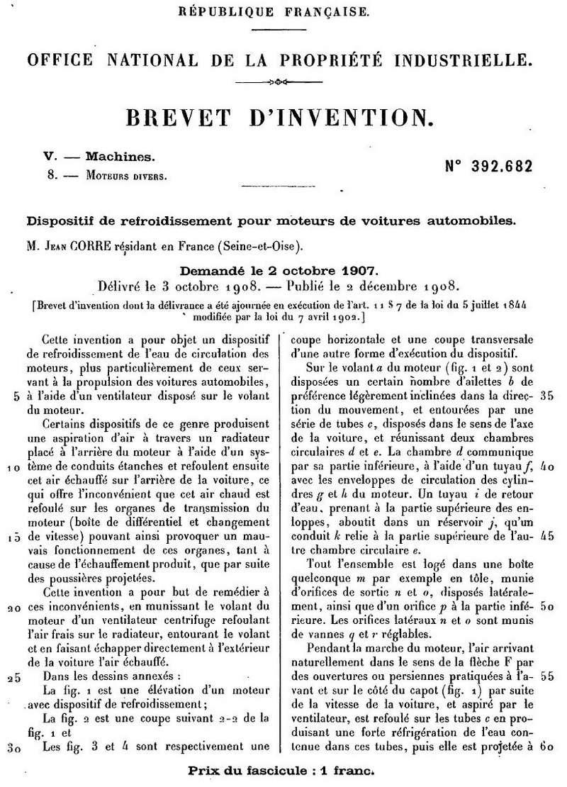 Brevets CORRE 1256