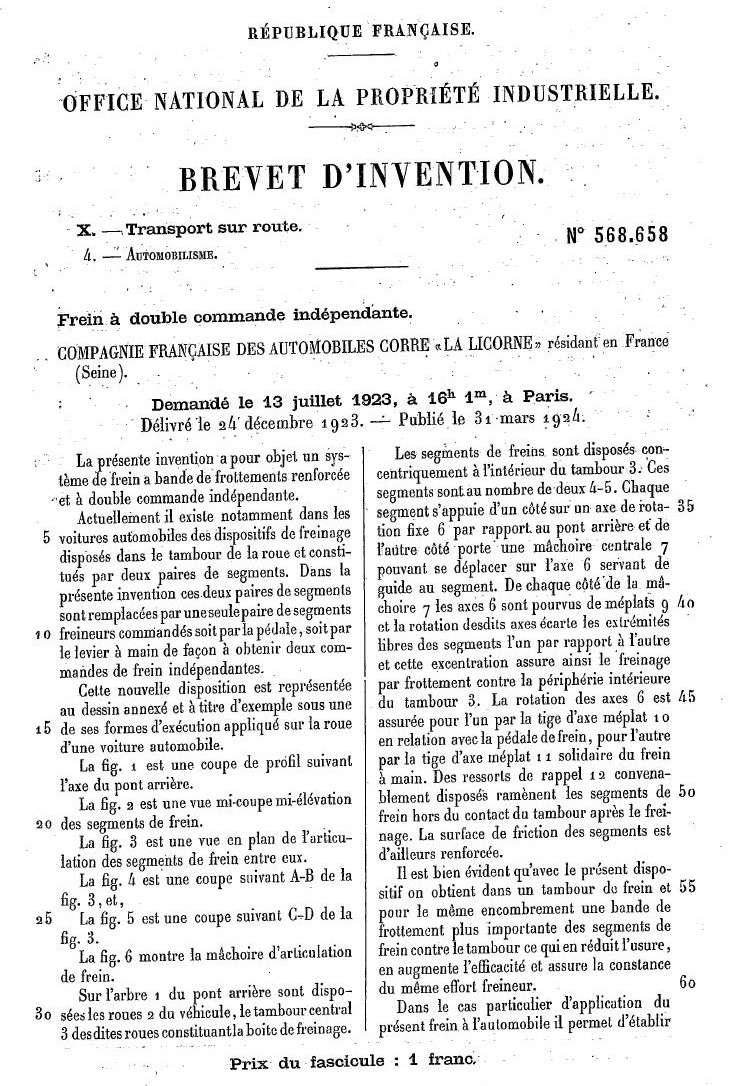Les BREVETS déposés par LA LICORNE 176