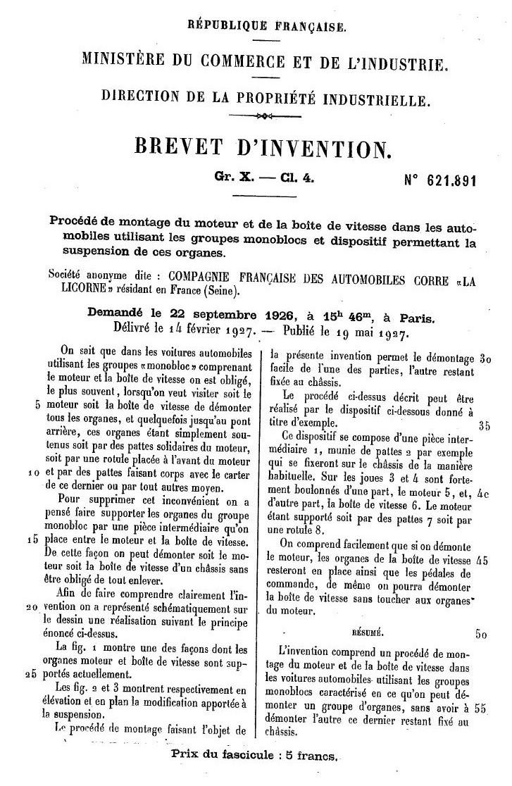 Les BREVETS déposés par LA LICORNE 177