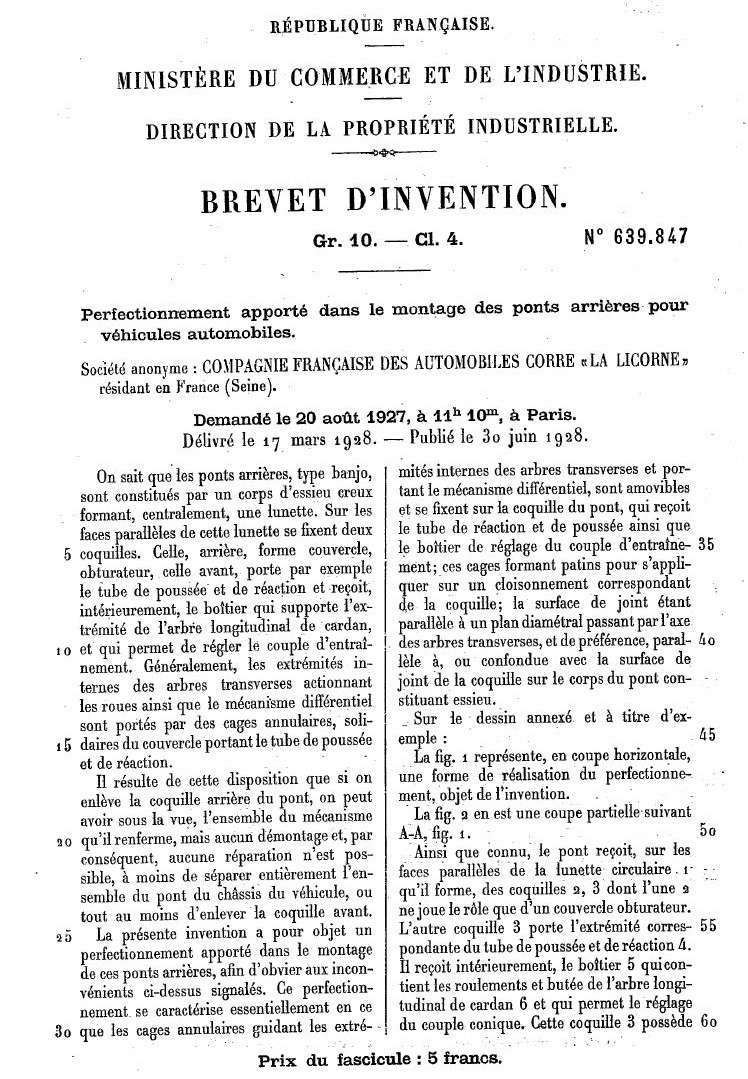 Les BREVETS déposés par LA LICORNE 178