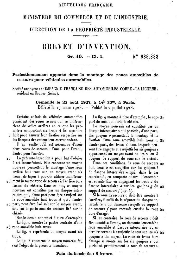 Les BREVETS déposés par LA LICORNE 180