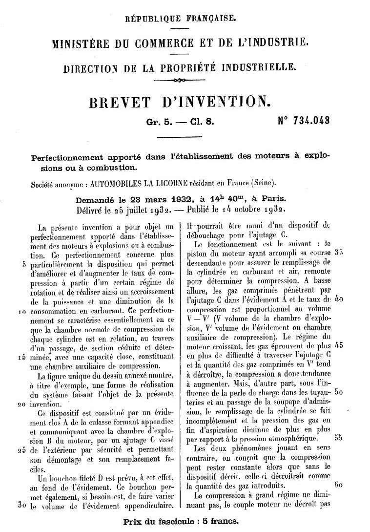 Les BREVETS déposés par LA LICORNE 181
