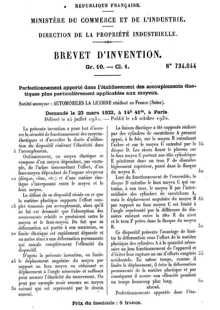Les BREVETS déposés par LA LICORNE 182