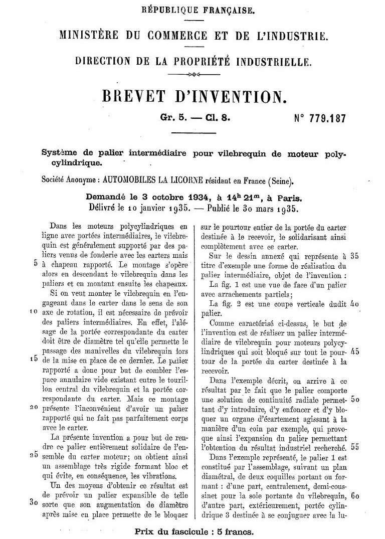 Les BREVETS déposés par LA LICORNE 183