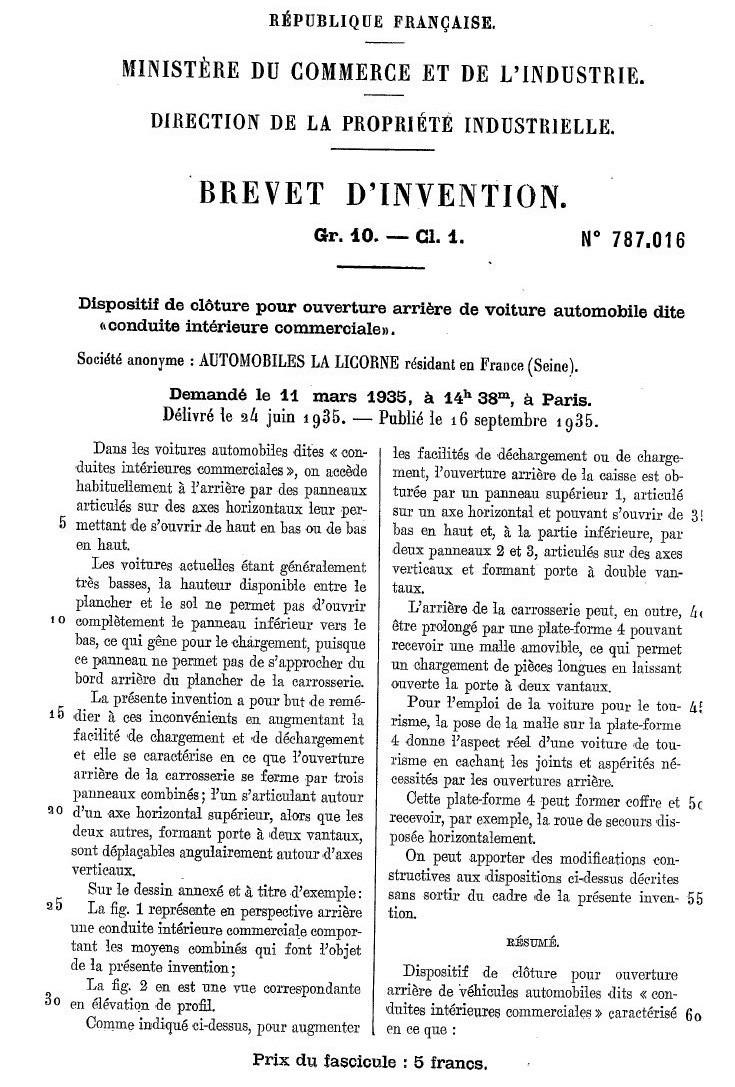 Les BREVETS déposés par LA LICORNE 185