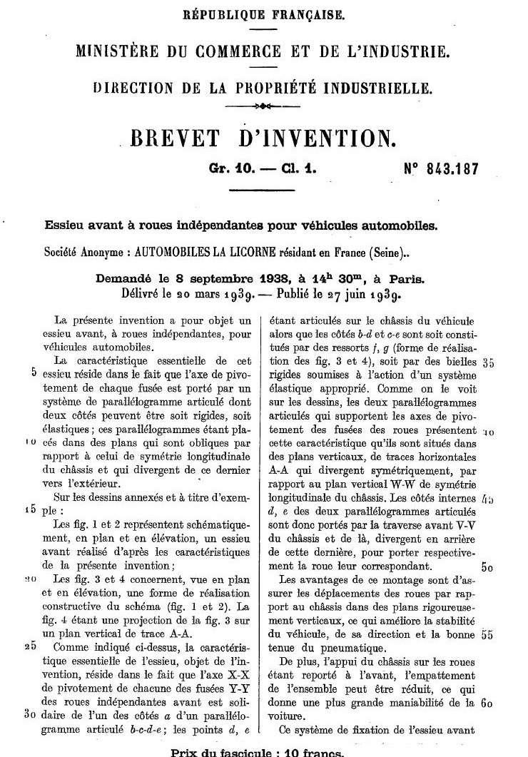 Les BREVETS déposés par LA LICORNE 186