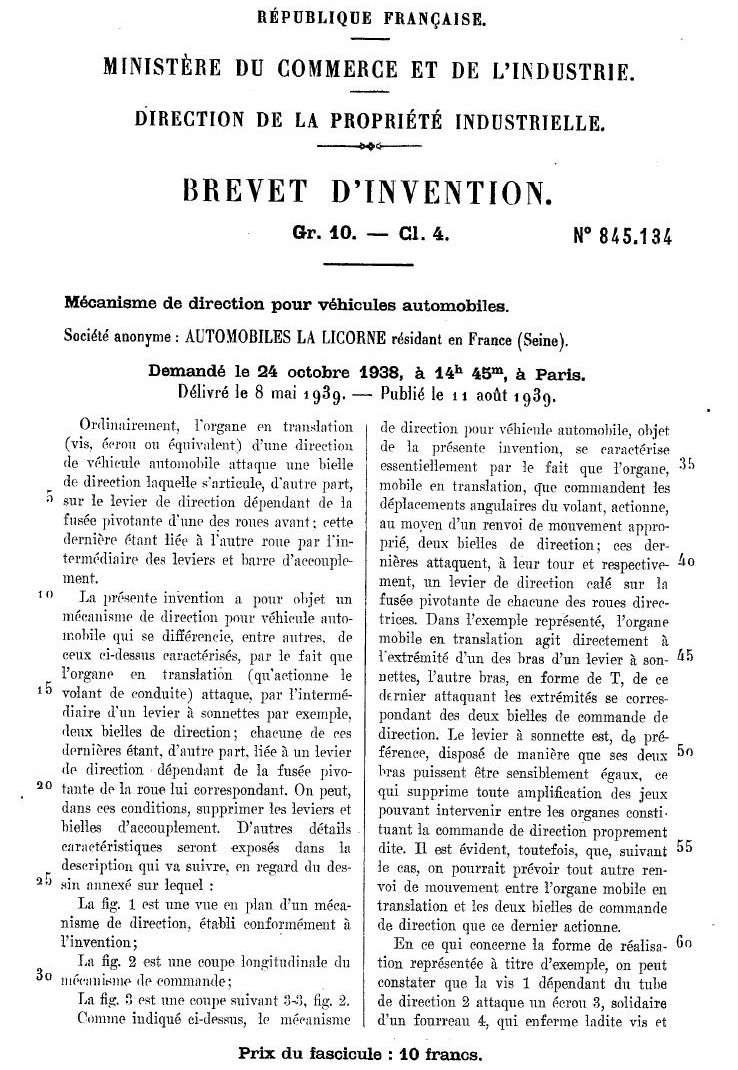 Les BREVETS déposés par LA LICORNE 187