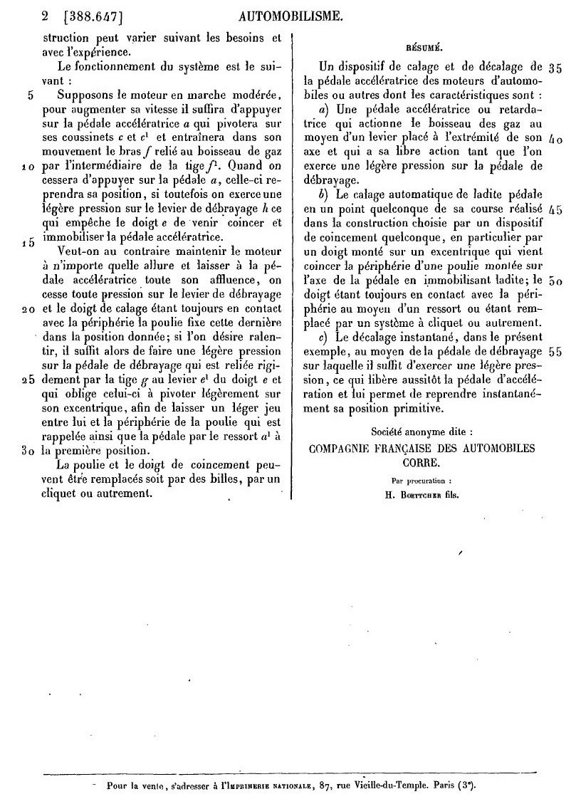 Brevets CORRE 2142