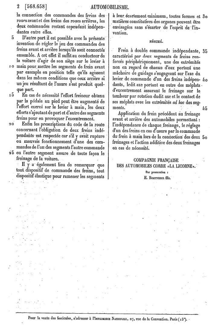 Les BREVETS déposés par LA LICORNE 281