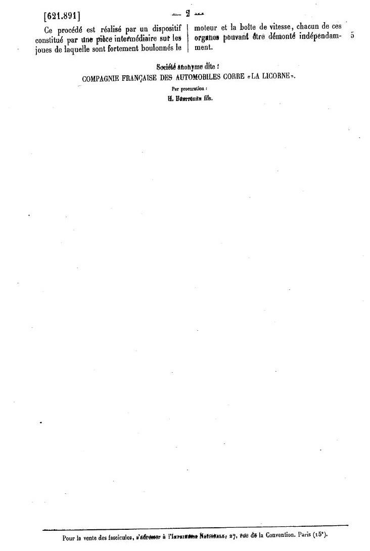 Les BREVETS déposés par LA LICORNE 282