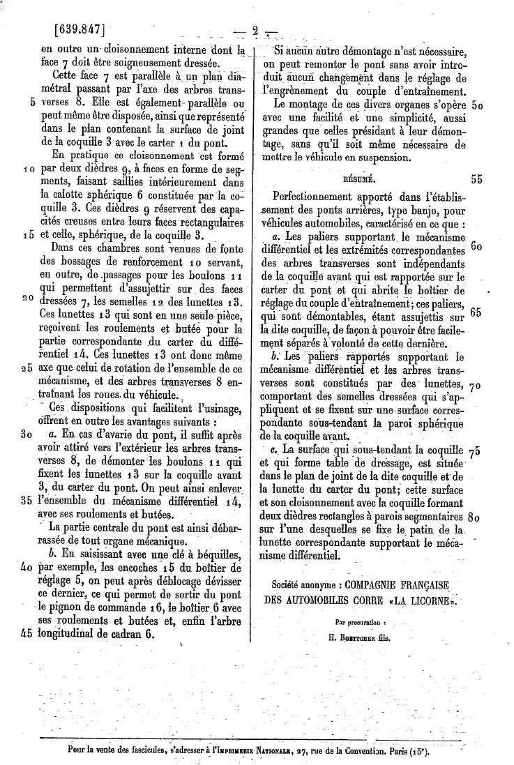 Les BREVETS déposés par LA LICORNE 284