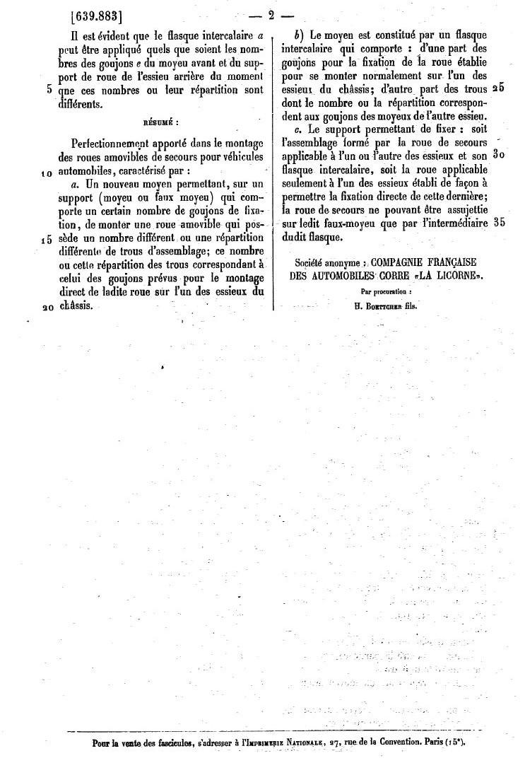 Les BREVETS déposés par LA LICORNE 285