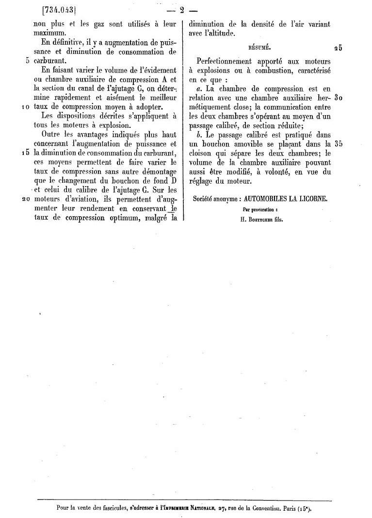 Les BREVETS déposés par LA LICORNE 286