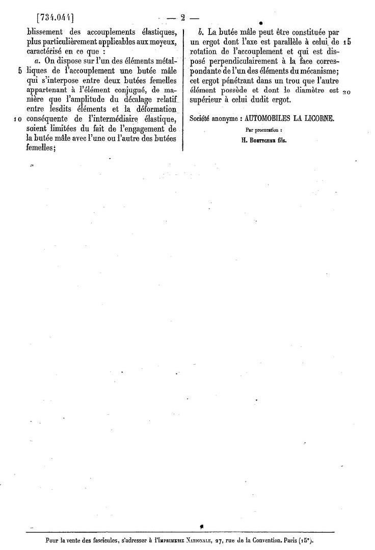 Les BREVETS déposés par LA LICORNE 287