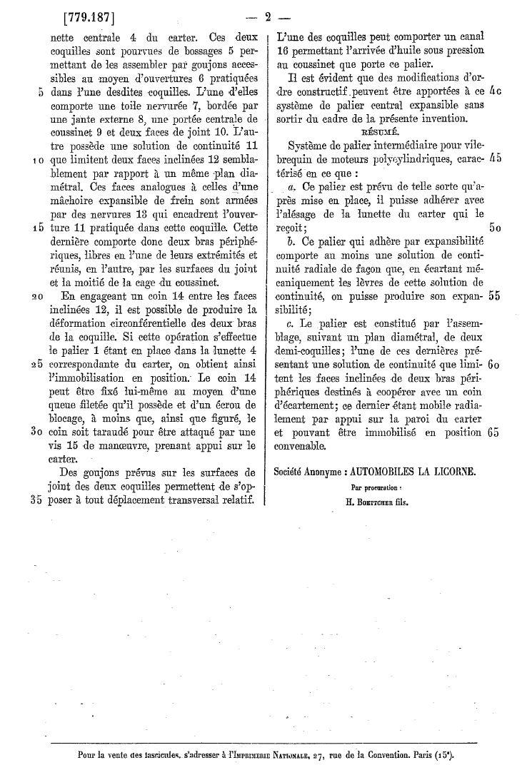 Les BREVETS déposés par LA LICORNE 288