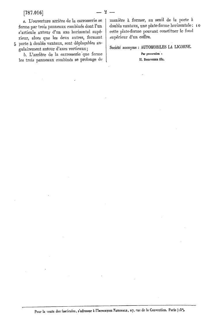 Les BREVETS déposés par LA LICORNE 290