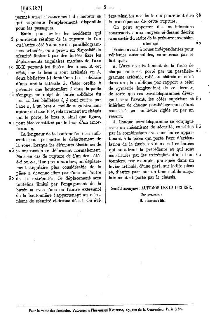 Les BREVETS déposés par LA LICORNE 291