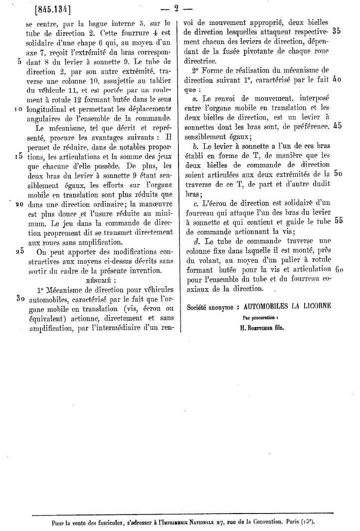 Les BREVETS déposés par LA LICORNE 292