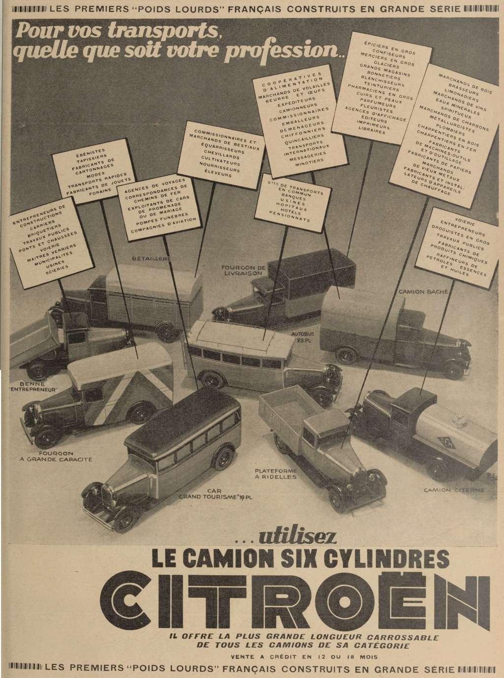 Réclame CAMIONS CITROËN Février 1931 3242