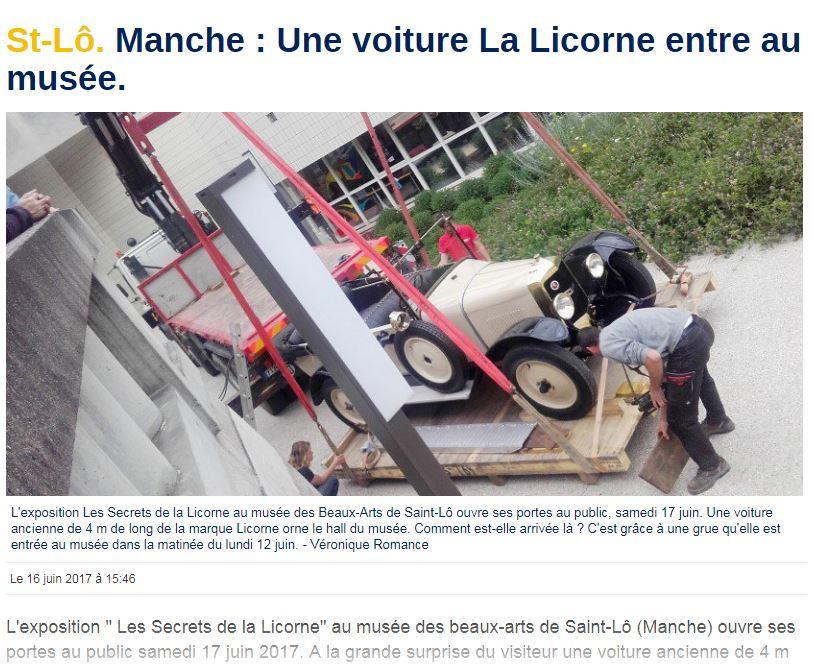 Musée de SAINT LÔ (Manche) une LICORNE en exposition Licorn98