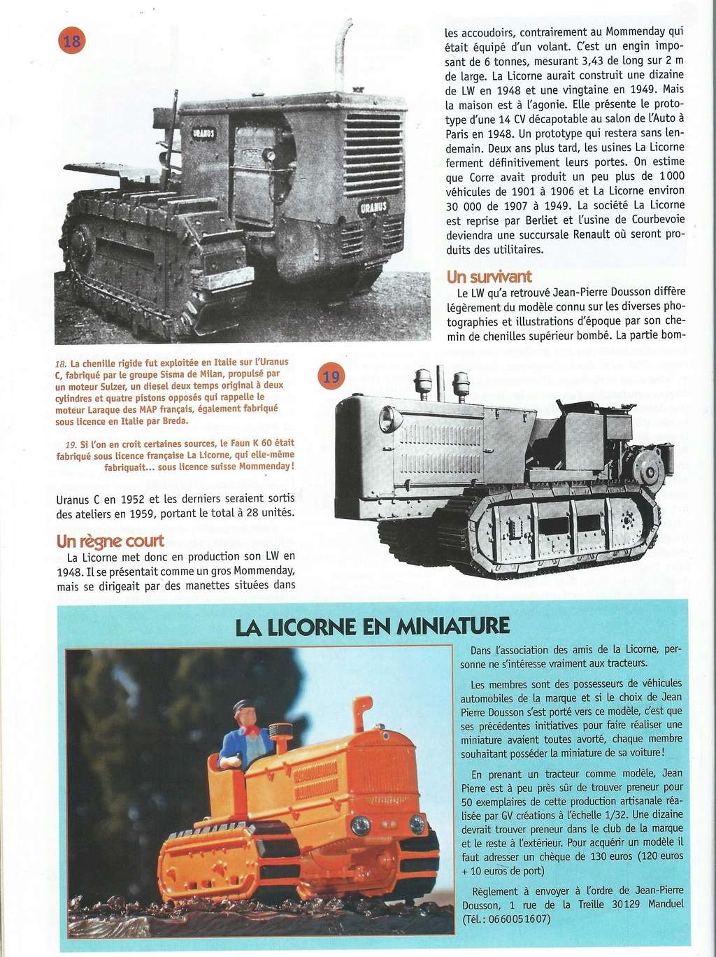 La presse spécialisée a causé du LW de LA LICORNE Tracte15
