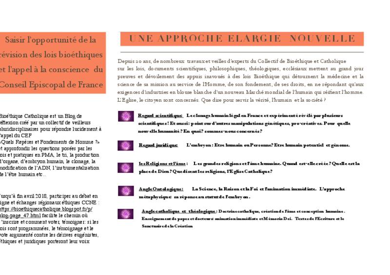 Bioéthique catholique : un blog créé pour les catholiques  répondant à l'appel. Flyer410
