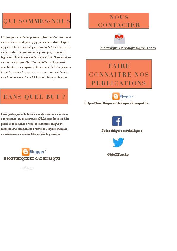 Bioéthique catholique : un blog créé pour les catholiques  répondant à l'appel. Flyer_12