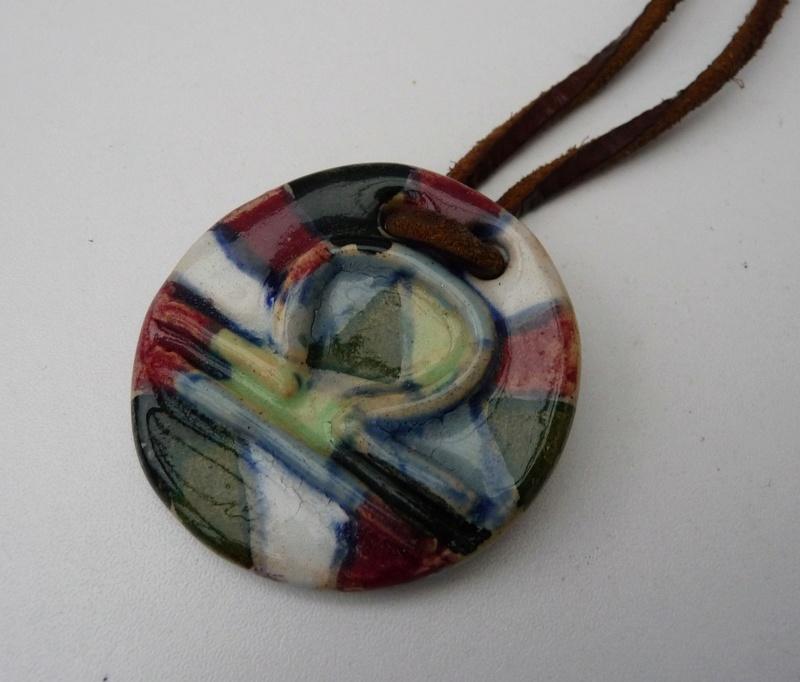 Libra Pendant marked Willingford Pottery??? P1070912