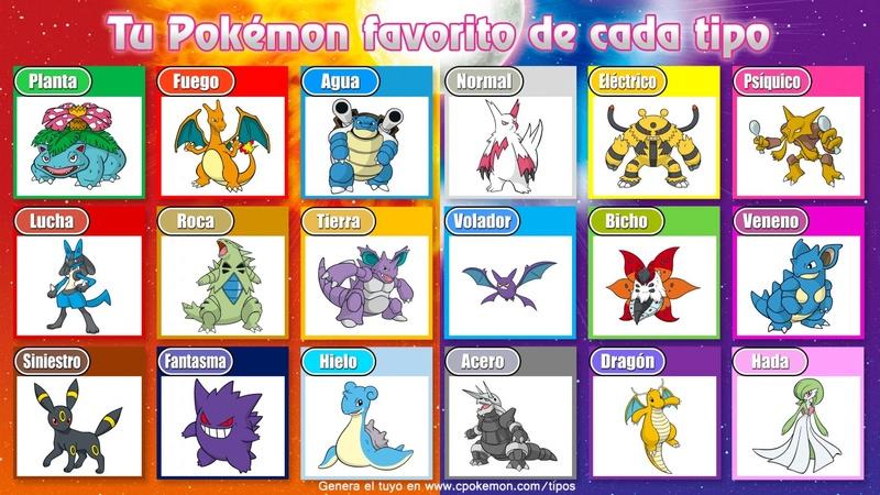 ¿Cuál es tu Pokémon favorito de cada tipo? Favori10