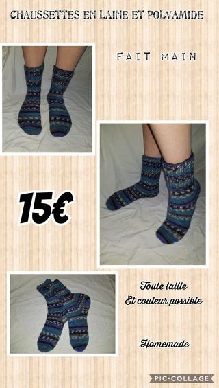 chaussettes en laine fait main Collag14