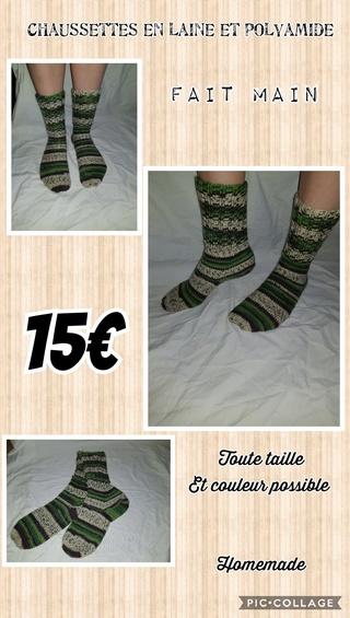chaussettes en laine fait main Collag15