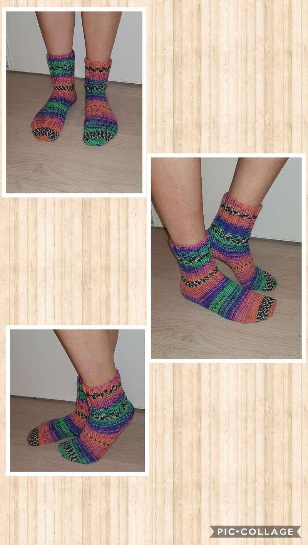 chaussettes en laine fait main Collag16