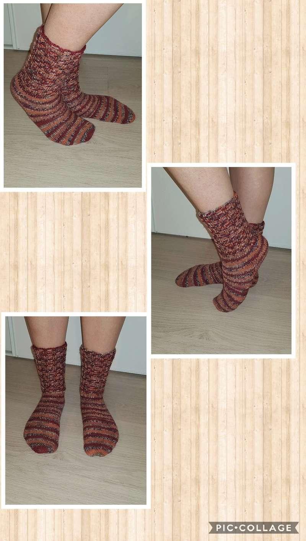 chaussettes en laine fait main Collag17