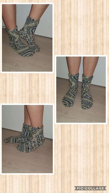 chaussettes en laine fait main Collag18