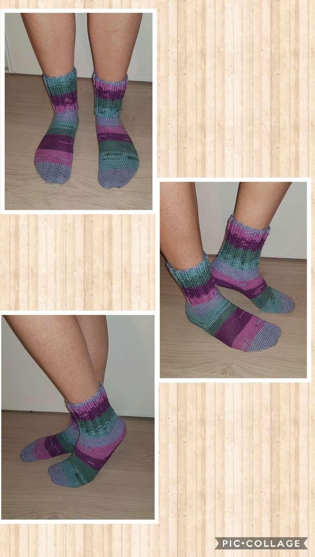 chaussettes en laine fait main Collag20