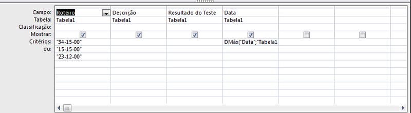 Como exibir apenas os registros com a data mais recente em uma consulta do MS Access Crityr10
