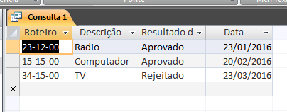 Como exibir apenas os registros com a data mais recente em uma consulta do MS Access Result11